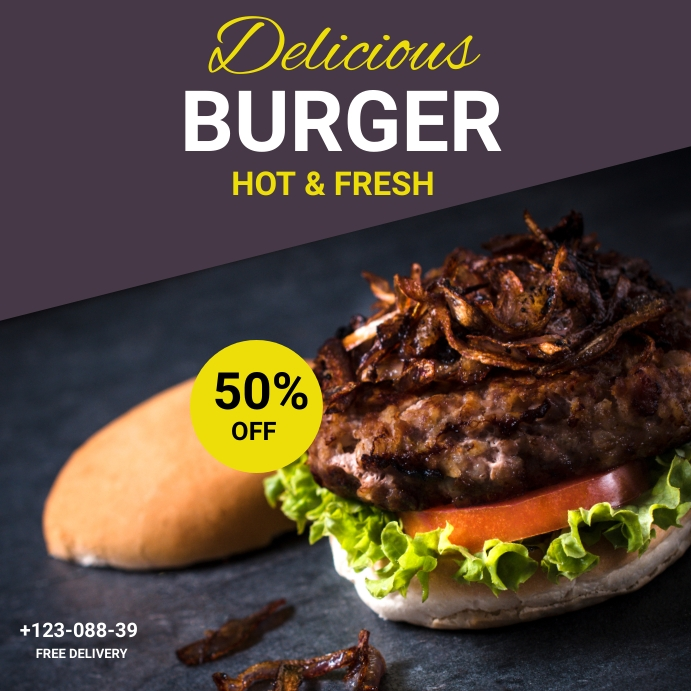 Delicious Burger instragam post Instagram-Beitrag template