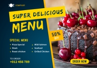Delicious Food Banner Template Carte postale