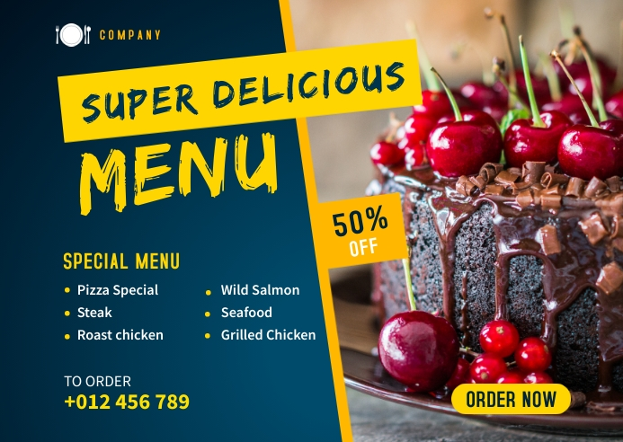 Delicious Food Banner Template Postcard