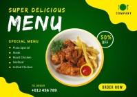 Delicious Food Menu Banner Design Template Carte postale