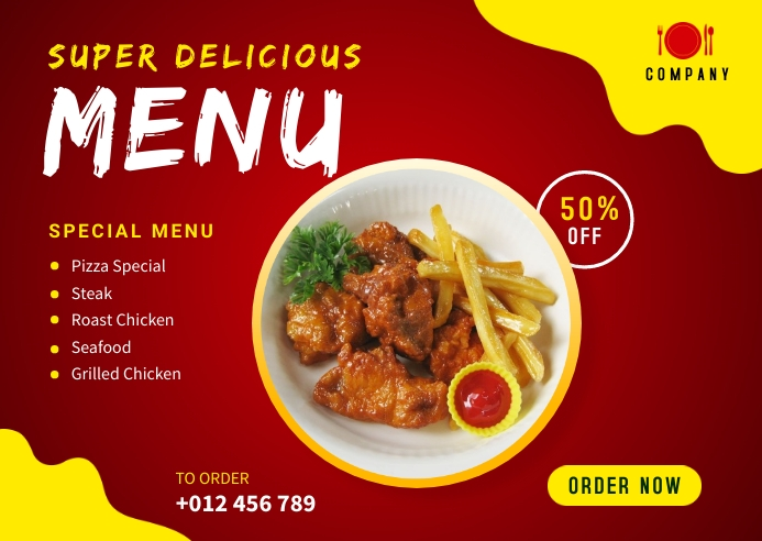 Delicious Food Menu Banner Design Template Postcard