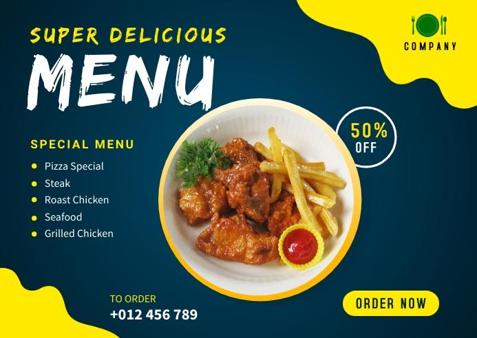 Delicious Food Menu Banner Design Template Kartu Pos