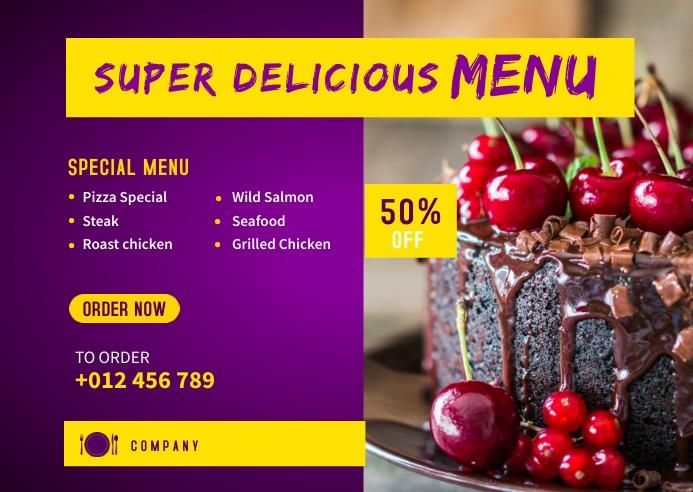 Delicious Food Menu Banner Template Kartu Pos