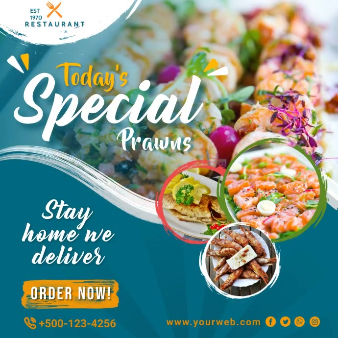 Delicious Seafood Promotion Instagram Post Te Cuadrado (1:1) template