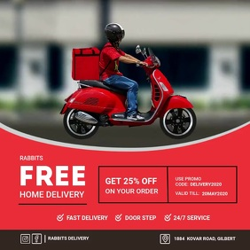 delivery at home Quadrado (1:1) template