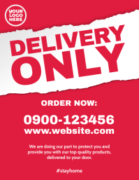 Delivery Only restaurant store front poster