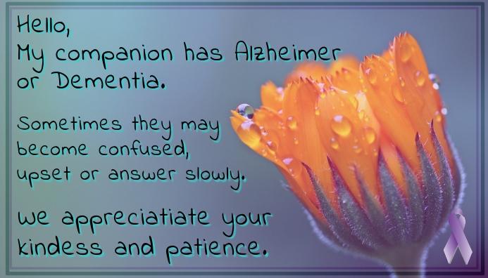 Dementia Patience Card template