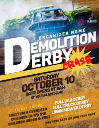 Demolition Derby Flyer Løbeseddel (US Letter) template