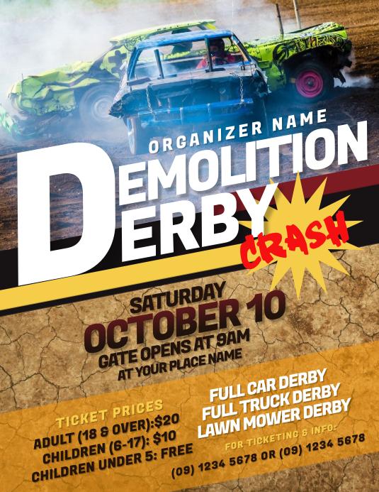 Demolition Derby Flyer Løbeseddel (US Letter) template