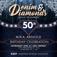 Denim & Diamonds Bday Instagram Video Templat Quadrat (1:1) template