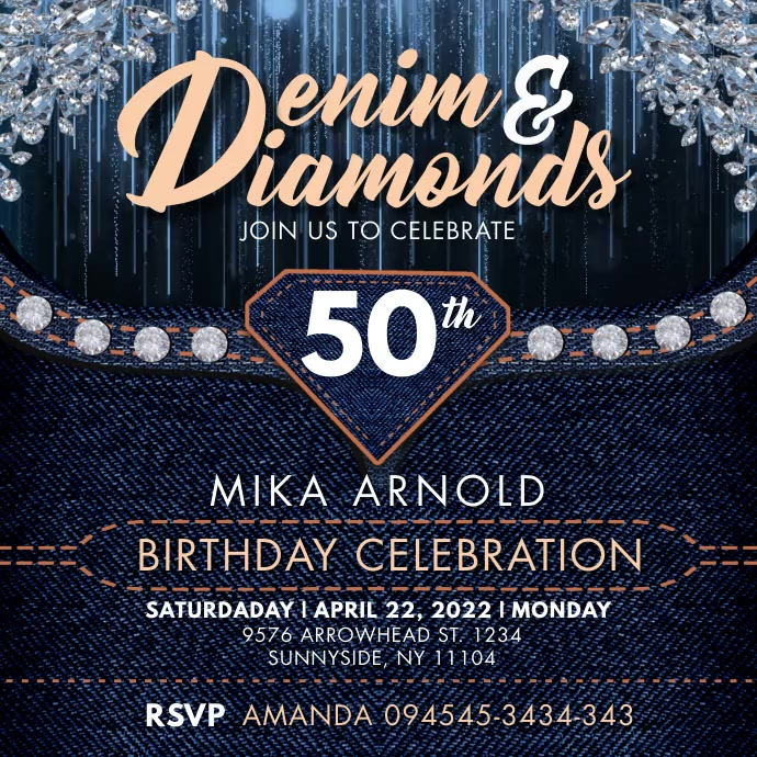 Denim & Diamonds Bday Instagram Video Templat Vierkant (1:1) template