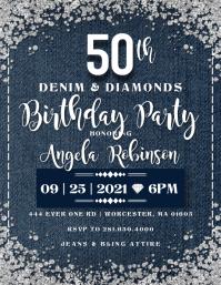 Denim & Diamonds Birthday Invitation Folder (US Letter) template