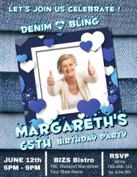 Denim & Diamonds birthday template Flyer (format US Letter)