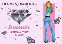 Denim & Diamonds Party/birthday/templates Postcard