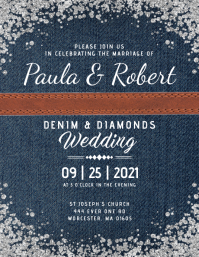 Denim & Diamonds Wedding Invitation Iflaya (Incwadi ye-US) template