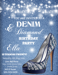 Denim and Diamond Party Flyer (US Letter) template