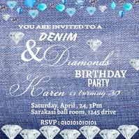 Denim and Diamond party invitation Instagram-bericht template