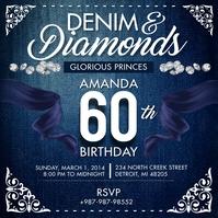 Denim and Diamonds 60th Birthday Instagram Po Instagram-Beitrag template