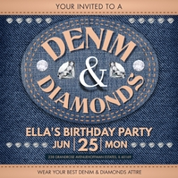 Denim and Diamonds Birthday Bash Instagram Po Instagram-Beitrag template