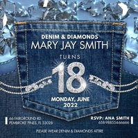 Denim and Diamonds Birthday Party Instagram V Quadrat (1:1) template