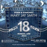 Denim and Diamonds Birthday Party Instagram V Cuadrado (1:1) template