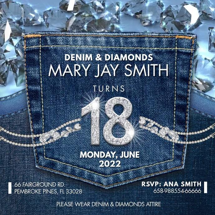 Denim and Diamonds Birthday Party Instagram V Square (1:1) template