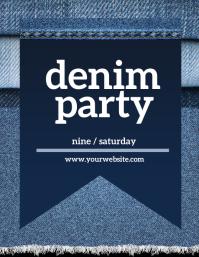 Denim and Diamonds Party Folheto (US Letter) template