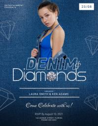 Denim and Diamonds Party Flyer Template Folder (US Letter)