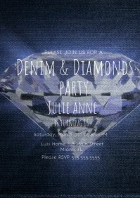 Denim and Diamonds Sweet 16 Birthday Party A4 template