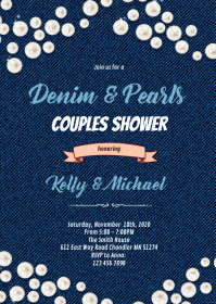 Denim and pearls invitation A6 template