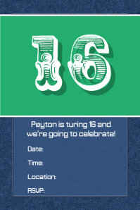 denim Jean birthday party invitation flyer dinner clothing