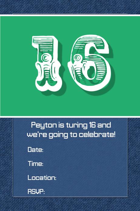 denim jean birthday party invitation flyer dinner clothing template