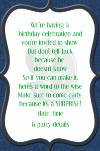 Denim Party Invitation Event flyer Poster Fundraiser