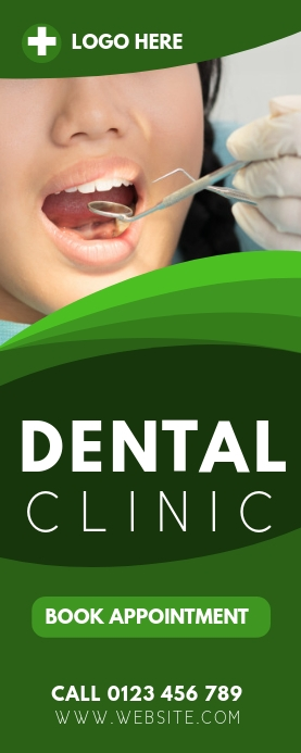 DENTAL CLINIC ROLL OUT BANNER Rolbanner 2' × 5' template