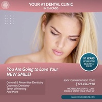 Dental Clinic Teeth Whitening Video Ad Square (1:1) template