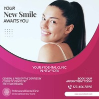 Dental Clinic Teeth Whitening Video Ad Cuadrado (1:1) template