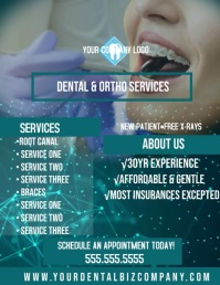 Dental Company Flyer Design Template Folheto (US Letter)