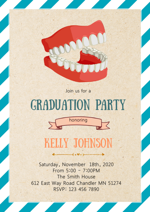 Dental graduation party invitation A6 template