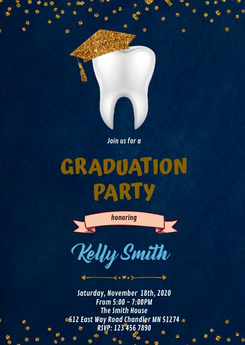 Dental graduation theme invitation A6 template