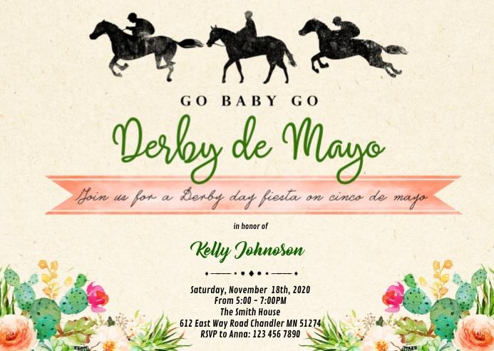 Derby de mayo shower invitation A6 template
