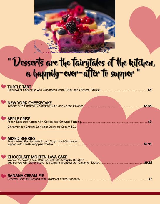 dessert menu card template postermywall