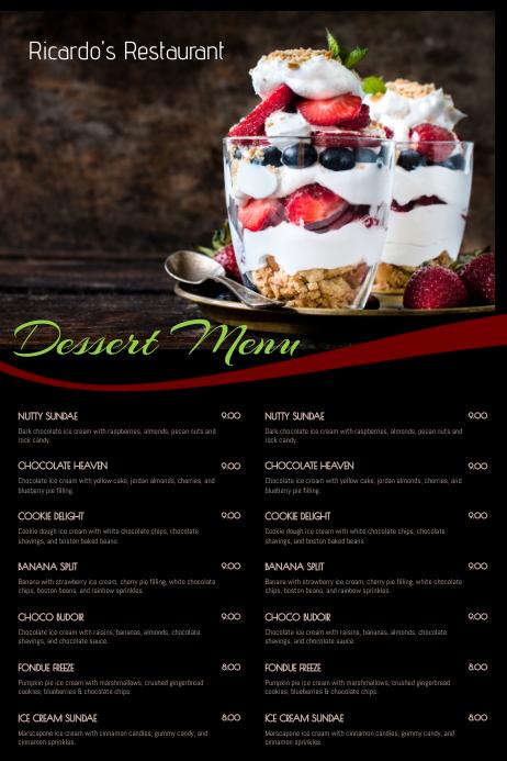 dessert menu template postermywall. Black Bedroom Furniture Sets. Home Design Ideas