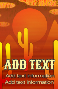 dessert with orange mountains red saguaro cactus and moon template