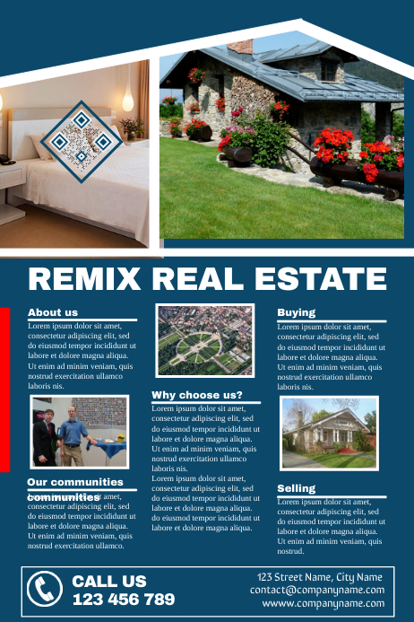 detailed real estate brochure 3 rows with images corporate