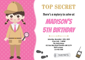 Detective birthday party invitation
