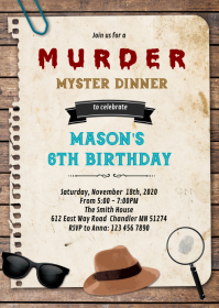 Detective Murder Mystery Dinner Invitation A6 template