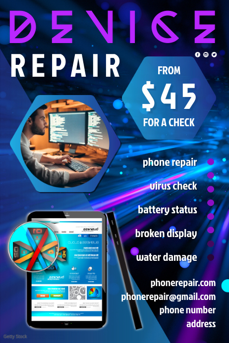 Device Repair Flyer Póster template