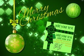 Merry Christmas Retail Invite Party Eve Ornament Green Lights Presents Gift Business Flyer