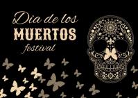 Dia de los muertos, festival,event Postcard template