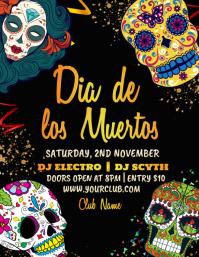 dia de los muertos,Carnival, Masquerade Party Flyer (Letter pang-US) template